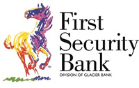 First Security Bank - Division of Glacier Bank - multi-colored horse logo